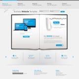 与简单被剥去的纸的蓝色企业网站模板-主页设计-干净和-导航例证 库存图片