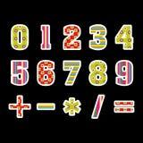 与算术标志的时髦的数字 免版税库存图片