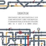 与管和管道的您的文本的背景在白色背景和地方 水管材的平的元素 管道 向量例证