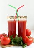 与管的西红柿汁 图库摄影