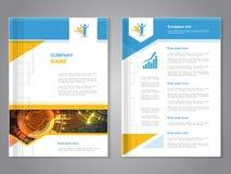 与箭头设计的传染媒介现代小册子,抽象飞行物有技术背景 布局模板 海报蓝色,黄色,红色 免版税库存照片