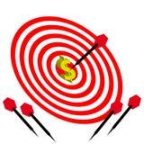 与箭的掷镖的圆靶在白色背景 库存图片