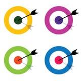与箭头中心集合例证的目标 免版税库存图片