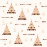 与箭头和羽毛的部族几何无缝的样式 圆锥形小屋背景样式 库存图片