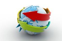 与箭头圈子的地球 免版税图库摄影