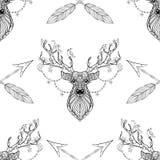 与箭头无缝的样式的不可思议的鹿在zentangle样式 库存照片
