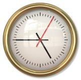 与箭头的古典简单的时钟表盘在白色背景中 免版税图库摄影