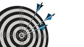 与箭头的目标-与三个弓箭头的目标在白色隔绝的目标中间 免版税库存照片