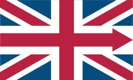 与箭头的英国旗子象 库存照片