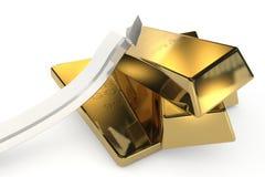 与箭头的金制马上的齿龈3d概念 库存图片