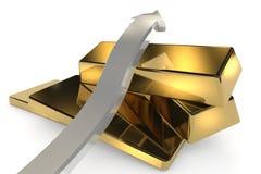 与箭头的金制马上的齿龈3d概念 免版税库存图片