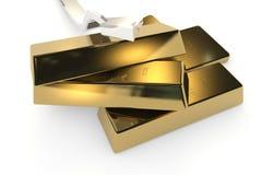 与箭头的金制马上的齿龈3d概念 免版税图库摄影