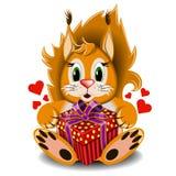 与箱子礼物的玩具爱恋的灰鼠 皇族释放例证