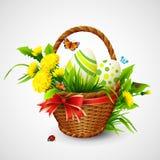 与篮子、鸡蛋和花的复活节卡片 向量 免版税库存照片