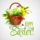 与篮子、鸡蛋和花的复活节卡片 向量 免版税图库摄影