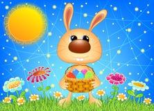 与篮子的复活节兔子 图库摄影