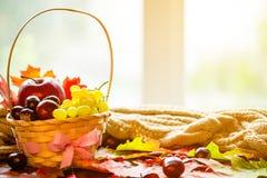 与篮子的秋天背景与黄色槭树离开,葡萄,红色苹果 秋天收获框架在年迈的木头的与拷贝空间 免版税库存照片