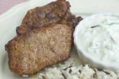 与米和黄瓜沙拉特写镜头的膳食牛排 免版税库存图片