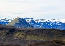 与米达尔斯冰原冰川的火山的风景在从Botnar-Ermstur的卡特拉火山破火山口,Laugavegur足迹在晴朗的早晨, 库存图片