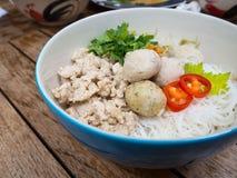与米细面条和鸡球的泰国剁碎的鸡面条 免版税库存照片