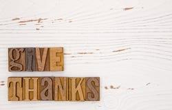 与类型集合字法的感恩主题的背景 图库摄影