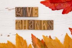 与类型集合字法的感恩主题的背景 库存照片