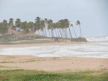 与粗砺的波浪和风的巴西海滩关闭 免版税库存图片