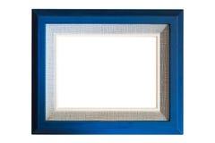 与粗麻布纹理的蓝色木框架 库存图片