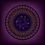 与精心制作的设计的圆的装饰品在丁香 库存照片