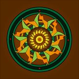 与精心制作的设计的圆的装饰品在黑暗的米黄背景 在黄色的中心 向量例证