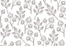 与精美乱画植物的无缝的纹理 库存照片