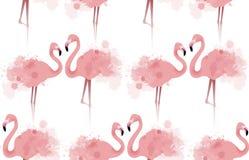 与精美桃红色火鸟的无缝的纹理 皇族释放例证