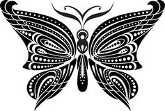 与精美翼的剪影蝴蝶 黑白图画 免版税库存照片