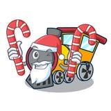 与糖果火车吉祥人动画片样式的圣诞老人 免版税图库摄影