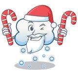 与糖果雪云彩字符动画片的圣诞老人 库存照片