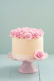 与糖玫瑰的蛋糕 库存照片