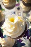 与糖花的装饰的结霜的杯形蛋糕 免版税库存照片