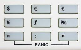 与紧急关键字的货币键盘 免版税库存图片