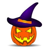 与紫罗兰色巫婆帽子的逗人喜爱的动画片万圣夜南瓜,隔绝在您的设计的白色背景,比赛,卡片 向量例证