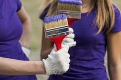 与紫色油漆的刷子 库存图片