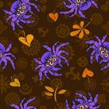 与紫色硕大蜘蛛和秋叶的万圣夜无缝的样式在动画片样式 库存例证