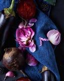 与紫色菜的静物画 免版税库存图片