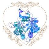 与紫色鸟的装饰心脏 下载例证图象准备好的向量 免版税库存照片