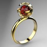 与红宝石的环形 库存照片
