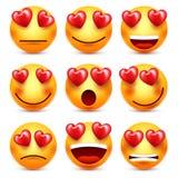 与红心传染媒介集合的兴高采烈的Emoji 情人节黄色动画片意思号面孔 爱感觉表示 皇族释放例证