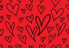 与红心,爱背景,心形传染媒介,情人节,纹理,布料,婚姻的墙纸的无缝的样式 皇族释放例证