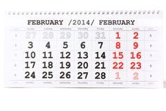 与红旗的日历情人节2月14日- 免版税库存图片