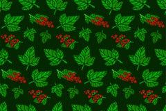 与红浆果和绿色叶子的无缝的样式 免版税图库摄影
