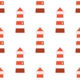 与红白的灯塔的样式 免版税库存照片