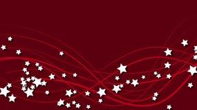 与红线的抽象空间背景和与阴影的三维白色星 在红色明亮的色的后面的白色星 皇族释放例证